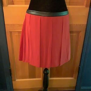 NWOT Walter Baker Red faux leather/chiffon skirt